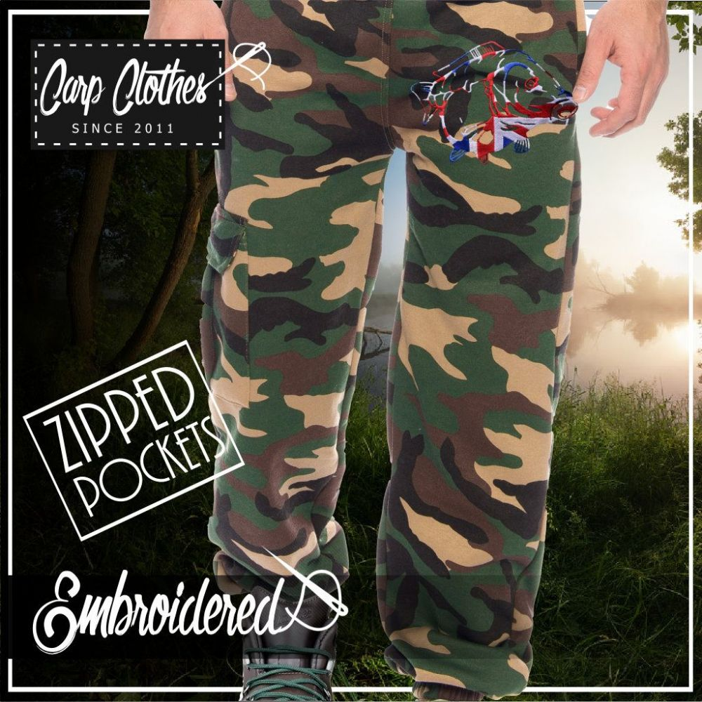 034 EMBROIDERED CAMO JOGGERS